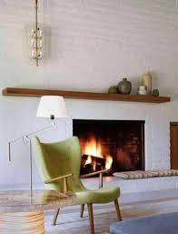 brick fireplace with wooden mantle decordigs pinterest mid century