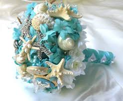 wedding bouquets with seashells blue wedding bouquet sea shell bridal by bohobridal my