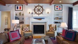 Nautical Striped Curtains Bright Navy And White Striped Curtains In Family Room Traditional