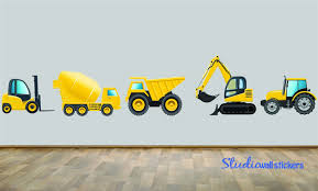 construction dump truck wall decal set of five reusable wall zoom