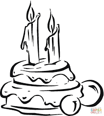 birthday cake with candles coloring page free printable coloring