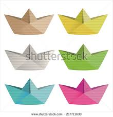 Cardboard Origami - paper airplane cardboard on white background stock illustration