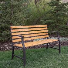 Steel Garden Bench Steel Outdoor Park Bench Brown Saracina Home Target