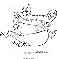 vector cartoon jogging alligator outlined coloring