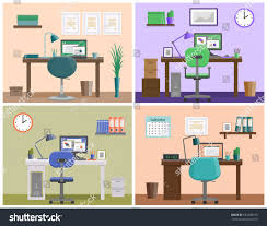 office interior workspace workplace home furniture stock vector