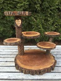 rustic cake stand large log elm wood rustic cake cupcake pie stand wedding 6 tiered