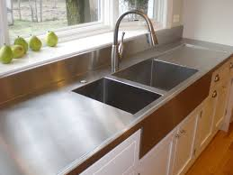 Commercial Kitchen Cabinets Stainless Steel Farmer Style Stainless Steel Countertop With Stainless Steel Sinks