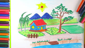 how to draw beautiful drawing how to draw a beautiful landscape with house and mountain