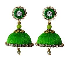 jhumka earrings handmade silk thread lawn green dangler jhumka earrings in india