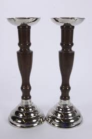 Accessorize Your End Table With Silver Vases And Votives by 4 Aluminum Candle Holders Silver Color U0026 Faux Wood Finish Votive