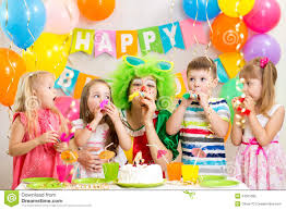 birthday party for kids children and clown at birthday party royalty free stock photo