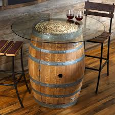 Valley Bar Table Reclaimed Wine Barrel Pub Table With Glass Top Wine Enthusiast