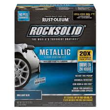 Rustoleum Garage Floor Coating Kit Instructions by Amazon Com Rust Oleum Rocksolid Brilliant Blue Metallic Garage