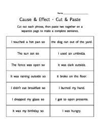 cause effect 3 printable worksheet activities matching cut