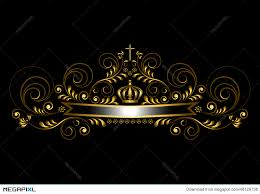 black and gold ribbon gold ribbon with a crown and a cross on a black background