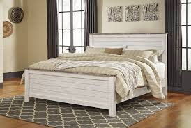 Whitewashed Bedroom Furniture Willowton Whitewash King Panel Rails B267 99 Bed Frames
