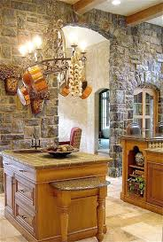 kitchen stair side kitchen with stone wall also open storage