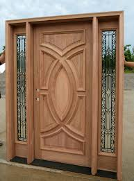 wood and glass exterior doors exterior wood doors with wrought iron glass sidelights
