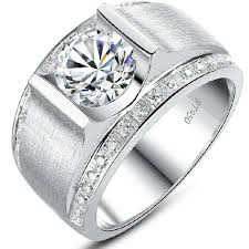 platinum sterling rings images 1 ct handsome man ring synthetic diamond engagement sterling jpg