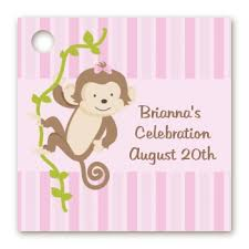 personalized baby shower favors baby shower favor tags monkey girl favor tags