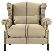 Napoleon Chair Napoleon French Fog Linen Blue Stripe Wingback Arm Chair Kathy