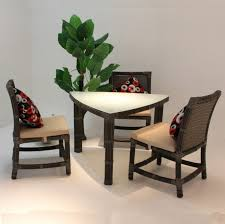 Furniture  Modern Dining Set With Triangle Brown Wood Dining - Triangular kitchen table