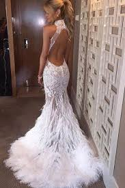 feather wedding dress halter neck feather mermaid appliques prom dress with court