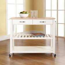 crosley furniture kitchen cart crosley white kitchen cart with wood top kf30051wh the