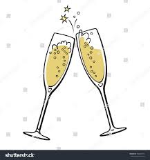 champagne glass cartoon two sparkling glasses champagne merry christmas stock vector