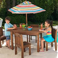 Patio Stack Chairs by Kidkraft Outdoor Table And 4 Stacking Chairs With Striped Umbrella