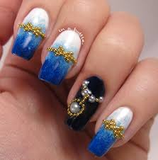 japanese nail art inspired blue gradient nails unique nail