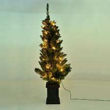 4 1 2 foot pre lit tree with decorative pot clear