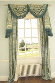 Patterns For Curtain Valances Interior Green Floral Pattern Curtain With Valance And Tassel