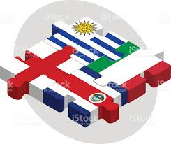 Flags In Uruguay Costa Rica England Und Italien Flags In Puzzle Vektor