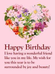 flower happy birthday wishes card for friends birthday