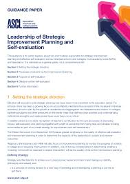 self evaluation report template guidance paper leadership of strategic improvement planning and self
