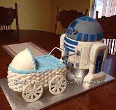 awesome homemade r2d2 baby shower cake for a star wars themed party