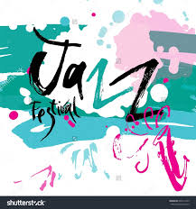 handwritten word jazz festival posters cards stock vector