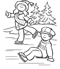 free winter coloring pages ice skating kids christmas
