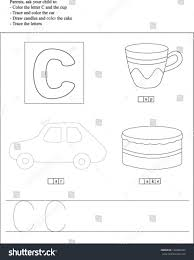 trace color letter c worksheet preschoolers stock vector 132806423