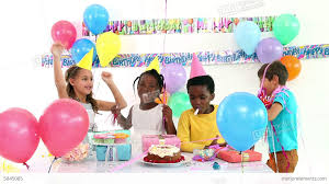 children celebrating a birthday together stock footage
