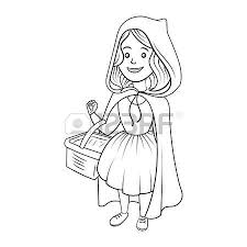 cartoon illustration cute red riding hood fairy tale