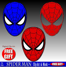 digital clip art spiderman mask superhero party masks clipart
