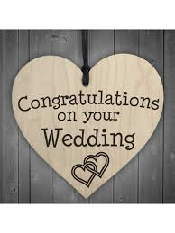 congratulations on your wedding on your wedding wooden hanging heart plaque
