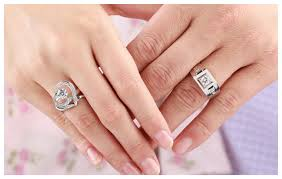 wedding engagement rings couples matching open heart shaped wedding engagement rings sets