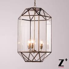 Glass Chain Chandelier Discount New Light Art Deco Brass Cage Glass Box Chain Vintage