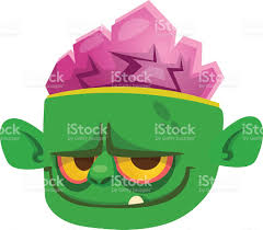 halloween cartoon monster face icon of vector monster head stock