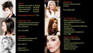 avant hair etc our pricing