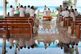 cancun wedding artistic reflection our of guadalupe chapel religious