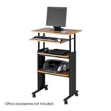 Office Furniture Names by Muv Stand Up Workstation Height Adj Medium Oak Mo Computer